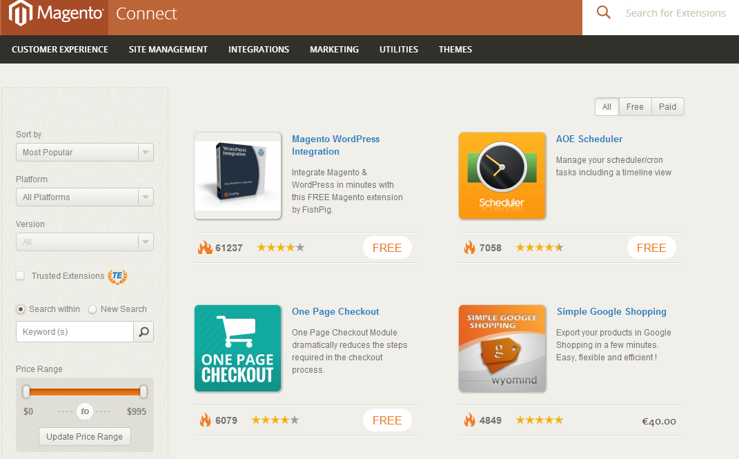 Magento Connect Marketplace